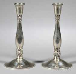 Pair of International Royal Danish Sterling Silver Weighted Candlesticks